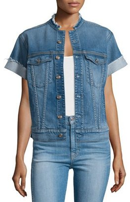 7 For All Mankind Short-Sleeve Raw-Edge Denim Jacket, Sardinia Beach $285 thestylecure.com