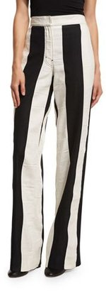 Derek Lam Striped High-Waist Wide-Leg Pants, Multi $1,150 thestylecure.com