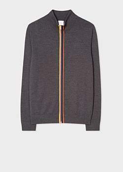 Paul Smith Men's Dark Grey Marl Wool 'Artist Stripe' Zip-Through Cardigan