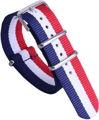 AUTULET Dark High-end Luxury NATO style Nylon Canvas Watch Band Strap Replacement for Girls