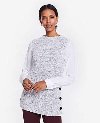 Ann Taylor Petite Ribbed Mock Neck Sleeveless Tunic Sweater 1a9377f72