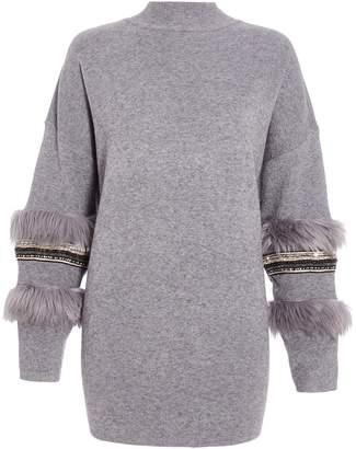 8da2a523a082e at Quiz Clothing · Quiz Curve Grey Knit Faux Fur Jumper
