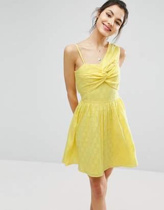 Asos Design One Shoulder Mini Sundress in Dobby Fabric