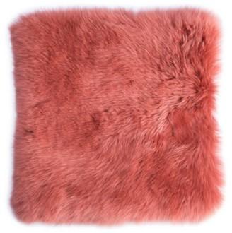 Deerlux Genuine Australian Lamb Fur Sheepskin Square Pillow Cover 16 in., Coral