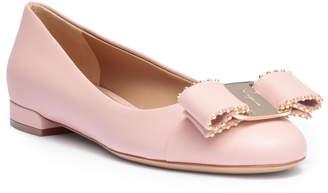 Salvatore Ferragamo Varina studded pink leather ballerinas