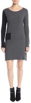 Lisa Todd Long-Sleeve Colorblock Cotton-Cashmere Dress w/ Patch Pocket