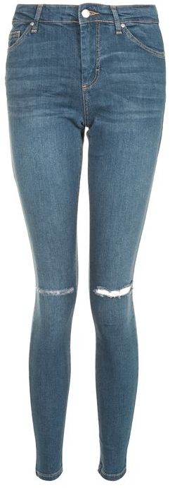 Topshop Topshop Moto dark blue ripped leigh jeans