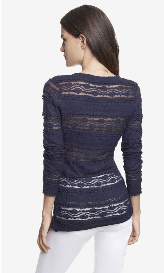 Express Scoop Neck Tiered Stretch Lace Tee