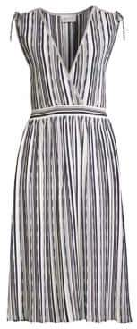 Milly Textured Stripe Surplice A-line Midi Dress