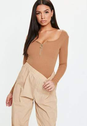 Missguided Camel Zip Front Long Sleeve Ribbed Bodysuit