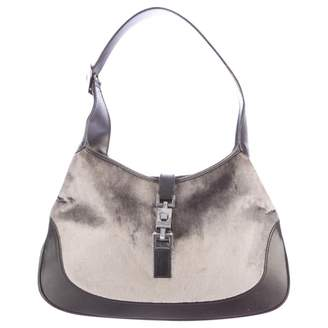 Gucci 100% Authentic Grey Velvet And Black Leather Jackie-O Hobo Shoulder Bag