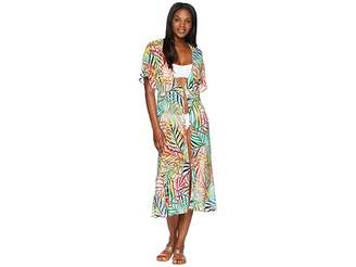 Kenneth Cole Exotic Palm Tie Front Slit Dress Cover-Up