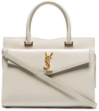 Saint Laurent cream Uptown small leather tote bag