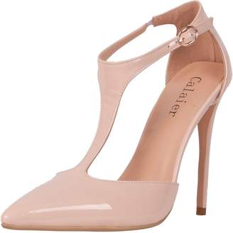 Calaier Womens Catell 2016 Sexy Fashion Luxury Point Toe High Heel T Strap Ankle Strap Pointed Toe 12CM Stiletto Buckle Sandals, Synthetic