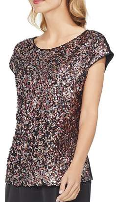 Vince Camuto Multicolored Sequin-Front Top