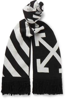 Off-White Logo-Intarsia Fringed Wool Scarf