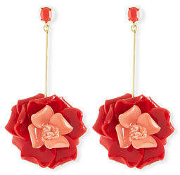 Oscar de la Renta Petunia Long Floral Drop Earrings