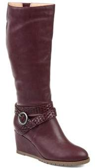 Brinley Co. Womens Comfort Extra Wide Calf Braid Strap Wedge Boot