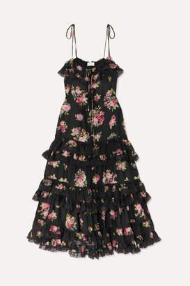 Zimmermann Honour Lace-trimmed Tiered Floral-print Silk Dress - Black