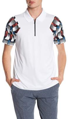 Perry Ellis Printed Sleeve Zip Polo Shirt
