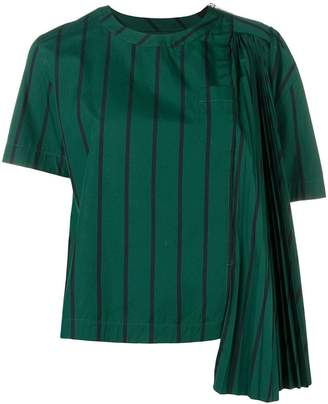 Sacai pleated details striped top