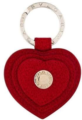 Bvlgari Leather Heart Keychain