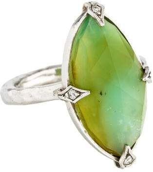 Cathy Waterman Platinum Green Opal & Diamond Cocktail Ring