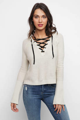 Rd International RD International Long Sleeve Crew Neck Marled Pullover With Lace Up