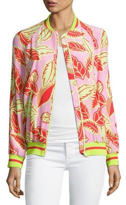 Boutique Moschino Palm-Print Bomber Jacket, Pink/Yellow $750 thestylecure.com