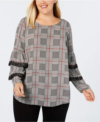 Alfani Plus Size Plaid Lace-Trim Tiered-Sleeve Top, Created for Macy's