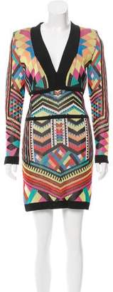Balmain Geometric Patterned Bodycon Dress
