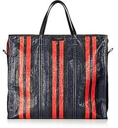 Balenciaga Men's Bazar Arena Leather Extra-Large Shopper Tote Bag-Stripe