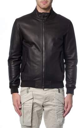 Z Zegna Padded Leather Bomber Jacket