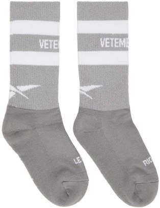 Vetements Grey Reebok Edition Reflective Socks