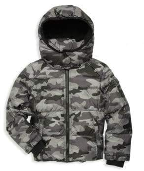 S13/Nyc Boy's Downhill Down & Faux Fur-Trimmed Camo Jacket