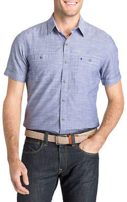 Izod Solid Dockside Chambray Sport Shirt
