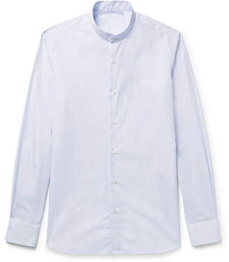 Caruso Grandad-Collar Striped Cotton-Poplin Shirt