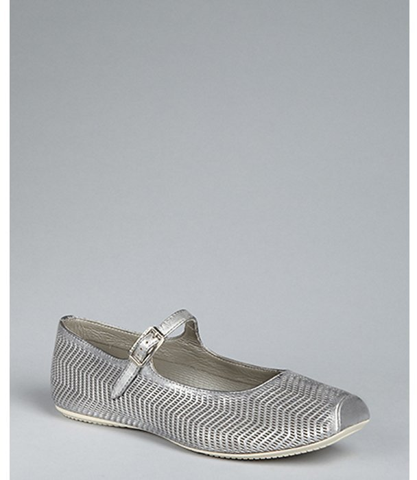 Hogan silver cutout leather mary jane flats