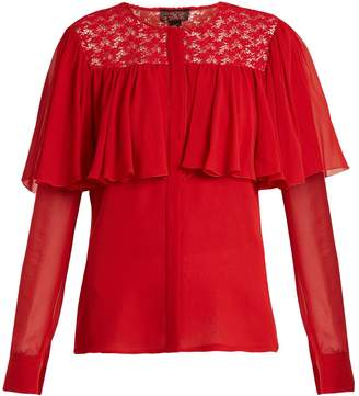 Giambattista Valli Ruffle-trimmed silk-georgette blouse