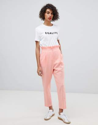 Asos Design DESIGN tailored casual linen trouser with frill waist