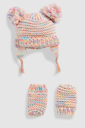 Next Girls Multi Double Pom Beanie Hat And Mitten Two Piece Set (Younger)