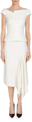 Roland Mouret Elmswell Off-the-Shoulder Cap-Sleeve Peplum Top