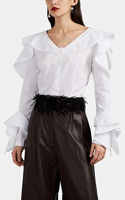 Zac Posen Women's Ruffle-Trimmed Button-Front Blouse - White