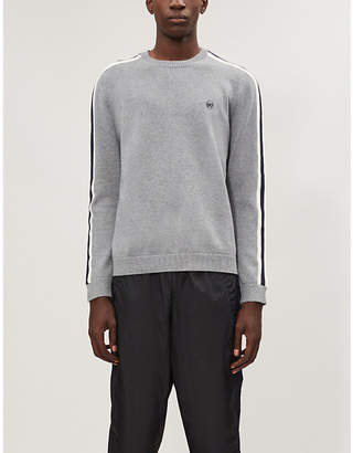 The Kooples Striped-trim cotton-blend knitted jumper