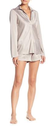 Elie Tahari Satin Nightshirt & Shorts Pajama 2-Piece Set