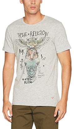 True Religion Men's Indi Totem T-Shirt, (Grey Melange), Small (Size: S)