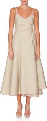 Rosie Assoulin Side Tie Metallic Wrap Dress
