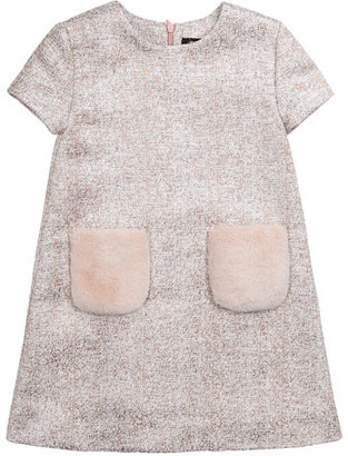 Imoga Tweed Dress with Faux Fur Pockets, Pink, Size 2-6 $108 thestylecure.com