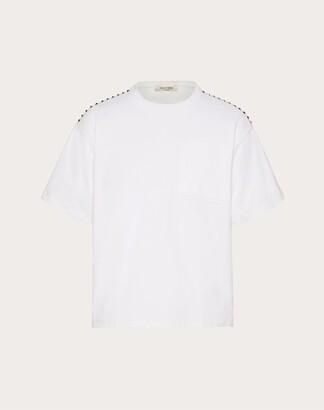 Valentino Rockstud Untitled T-shirt Man White 100% Cotone L