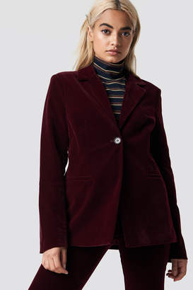 Na Kd Party Velvet Loose Fit Blazer Burgundy